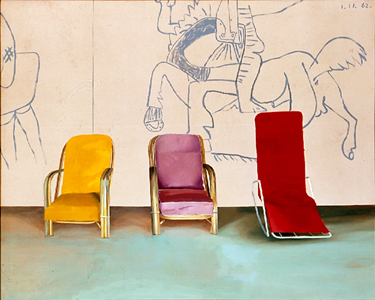Three Chairs With A Section Of A Picasso Mural, 1970   Acrylic On Canvas  48x60 In.